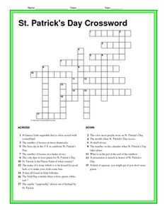 This is a free form crossword puzzle that highlights 17 different words associated with St. Patrick's Day. The 17 clues are based on the history, l...