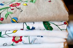 Linen tablecloths with Kashubian, hand embroidery. Kashubian region is on the north of Poland near the Baltic sea. Linen Tablecloth, Tablecloths, Polish Folk Art, Baltic Sea, Poland, Hand Embroidery, Traditional, Artist, Pattern
