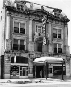 Hotel Pacific, downtown Wichita, Ks., circa 1942. Built in 1912, it was razed in the 1960's. Century ll was built on the site.