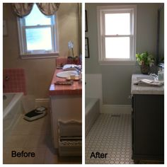 Before and After of downstairs bathroom redux. DIY project...painted vanity with Annie Sloan Chalk paint (half Paris Grey/half Graphite) and three coats of wax. Husband raised vanity with new feet to look like furniture piece. Carrera marble top and  Moen fixtures...Viola!