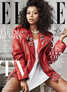 Taraji P. Henson in a Marc Jacobs jacket, a Virgil Abloh tee & a Bulgari necklace on the February 2016 Cover of ELLE Magazine