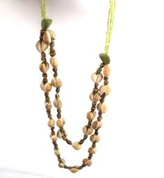 green coastal necklace- shell necklace by Sweetlakevintage on Etsy
