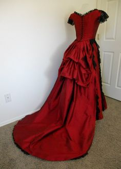 Etsy Item of the Day: Red and Black Lace Bustled Victorian Ball Gown by Sally C Designs. $550.