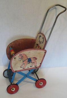 Vintage Tin & Press Board Doll Baby Stroller Panda Pony Gong Bell Mfg. Co.