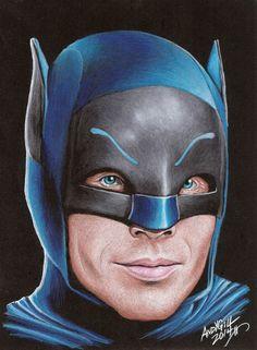 Portrait of Adam West by AndyGill on Stars Portraits, the biggest online gallery for celebrity portraits. Comic Book Heroes, Comic Books, Adam West Batman, Batman Tv Series, Batman Artwork, West Art, Batman The Dark Knight, Hero Arts, Star Wars Art