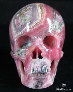 Rhodochrosite Crystal Skull
