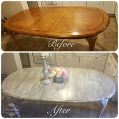 Diy kitchen table - How to turn your table into a Farm Table – Diy kitchen table Refurbished Kitchen Tables, Shabby Chic Kitchen Table, Painted Kitchen Tables, Refurbished Furniture, Shabby Chic Furniture, Diy Kitchen, Table Furniture, Furniture Makeover, Kitchen Decor