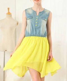 Sleeveless Chiffon and Denim Dress
