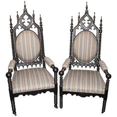 19th C Gothic Revival Arm Chairs | From a unique collection of antique and modern armchairs at https://www.1stdibs.com/furniture/seating/armchairs/