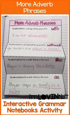 More Adverb Phrases Interactive Notebook Activity, Foldable, Organizer, Lesson