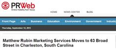 Matthew Rubin Marketing Services Moves to 63 Broad Street in Charleston, South Carolina