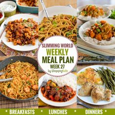 Slimming Eats Weekly Meal Plan - Week 27 - Slimming World Recipes - taking the work out of planning so that you can just cook and enjoy the food Extra Easy Slimming World, Slimming World Lunch Ideas, Slimming World Recipes Syn Free, Slimming World Diet, Slimming Eats, Slimming Word, Breakfast Lunch Dinner, Free Breakfast, Fat Burning Foods