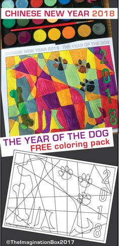 Invite kids to celebrate Chinese New Year 2018, Year of the Dog with this fun FREE colouring page art activity resource for the classroom and home. Templates are easy to use, just print and ready to go. Kids love Chinese New Year Crafts! Click on the link to find out more about this no prep Chinese New Year resource for teachers and parents. #chinesenewyear #yearofthedog #dogcrafts #dogs