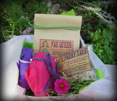 faery tea & cakes: bath n tea set - vegan, organic dead sea salts, cocoa butter bath melts, herbal tea/tisane by EarthGoddessBodyShop on Etsy