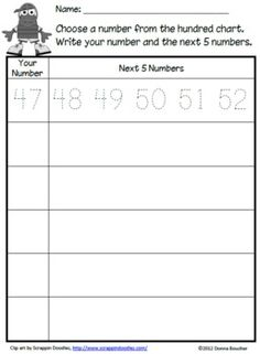 Baseball Hundred Chart -- count on/back #s to 120