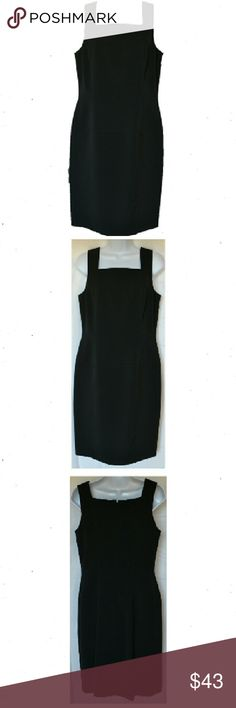 "VN Votre Name Dressy Black Sheath Dress VM Votrw Nam Dressy black sheath dress. Lined. Sleeveless with square neckline. Fitted darting front. Aline skirting. Back zipper. Size 3. L37"" B 34""-36"" W 30"". 109% Microfiber poky. NWOT VN Votre Nam  Dresses Midi"