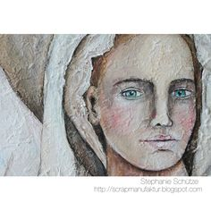 My White Angel Painting is finished. I was inspired by the Three Angel painting from Annie Hamman Art and so in love with her left angel with the lace shawl that I necessarily wanted to try it too. With her permission I painted my own angel in my style. http://scrapmanufaktur.blogspot.com