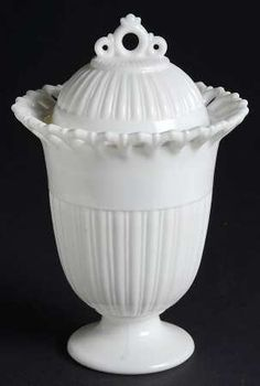 """Fostoria """"Randolph"""" Pattern Footed Urn with Lid in Milk Glass (1954-1965)"""