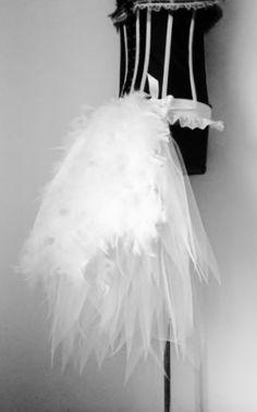 40.06 Jupe Tutu Blanc Burlesque Ceinture Plumes Taille XS S M L XL Pour Mariage