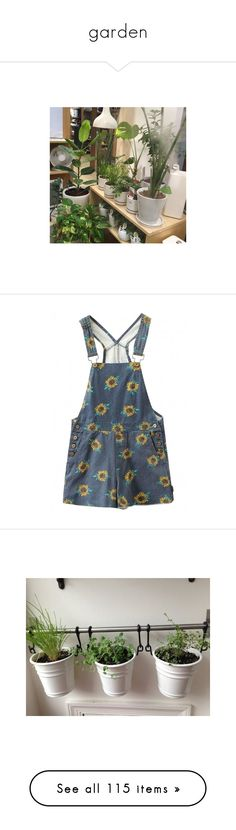 """garden"" by ghostdipper ❤ liked on Polyvore featuring pictures, pics, backgrounds, plants, jumpsuits, rompers, overalls, shorts, dresses and denim bib overalls"