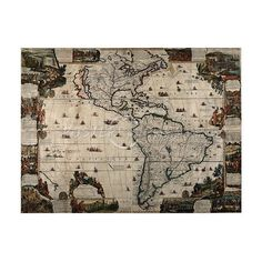 North and South America Map Vintage Reproduction Art Poster