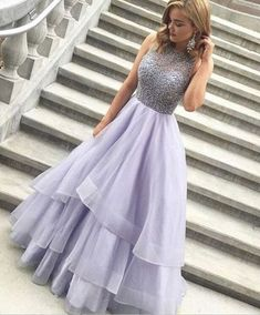 Sparkly Long Lavender Beaded Prom Dresses For Teens,Handmade Pretty Prom Gowns,Modest Party Dresses,MB 81
