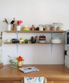 Birch plywood shelves & spray painted hardware store brackets