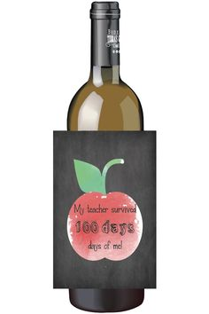 What a fun way to show your teacher appreciation for 100 days of school appreciation! 100 days of school wine bottle labels⎜Personalized gifts⎜teachers office staff favors gift⎜custom appreciation⎜Champagne labels⎜school kids by TheShindyCo on Etsy