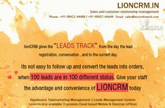 LIONCRM gives the leads track,the leads are convert into orders. #customer, #relationship, #management, #software Marketing Software, Business Marketing, Lead Management, Customer Relationship Management, Lion, Track, Leo, Runway, Lions