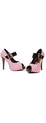 SALE! Retro Red White Stripe Wench Peep Toe Heels (10021-EL-451wench) van Ellie - These platform shoes are so cute! Red...Price - $49.00-WtzdMPGm