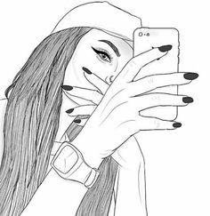 Image about girl in draw by tarányi zsófi on we heart it Tumblr Outline Drawings, Girly Drawings, Pencil Art Drawings, Cool Art Drawings, Art Drawings Sketches, Easy Drawings, Hipster Girl Drawing, Tumblr Girl Drawing, Tumblr Sketches