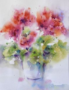 Potted Geraniums by Yvonne Joyner Watercolor ~ 20 in. including mat x 16 in including mat #watercolorarts