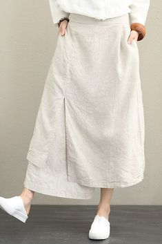 Casual High Waist Cotton Linen Skirt For Women - Nahen Modest Fashion, Skirt Fashion, Fashion Dresses, Maxi Outfits, Casual Outfits, Casual Clothes, Moda Natural, Casual Dresses For Women, Clothes For Women