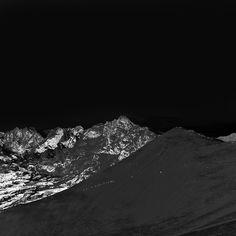 Winter Mountain Snow Bw Nature Dark iPad wallpaper