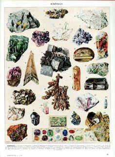 1936 Vintage minerals poster Antique by FrenchVintagePrints