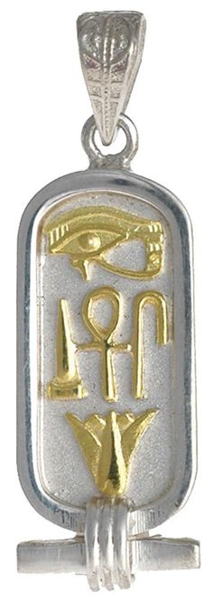 Sterling Silver Cartouche with 18K Gold Hieroglyphs for Health, Life and Happiness - Solid Style - Made in Egypt. Ancient Egyptian symbols that mean Health, Life, and Happiness. Hand-Made in Cairo, Egypt - 1.5 inches long. In Stock and Ready to Ship with velvet bag and jewelry box. Includes a Hieroglyphic Alphabet chart. Optional gift wrapping available in our beautiful gold foil pyramid box.