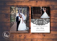 Wedding Thank you Cards Photo ~ Vintage Wedding ~ Wedding Thank you Cards ~ Wedding Lace ~ Printed Invitations ~ DIY PRINTABLE