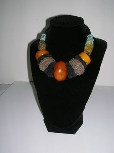 amber handmade copper and Chinese turquoise bead by musicpatricia, $750.00