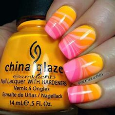 Tropical gradient water marble nails