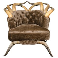 Rare Victorian Long Horn & Steer Horn Tufted Club Chair   From a unique collection of antique and modern club chairs at http://www.1stdibs.com/furniture/seating/club-chairs/
