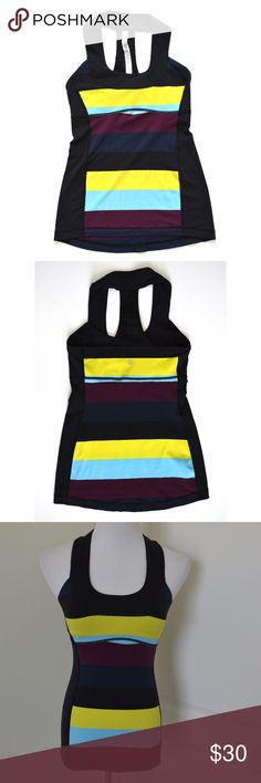 """Lululemon Scoop Neck Tank Pow Stripe Racerback 4 For your consideration is a Lululemon scoop neck, mesh racerback tank in size 4.  Bold, multi-color stripes.  Built in bra, removable pads are missing.  Excellent condition.  Measurements laying flat: NOT STRETCHED Bust (armpit to armpit): 13.5"""" Waist: 12.5"""" Bottom hem width: 16.5"""" Total length (top of shoulder to bottom hem): 23"""" lululemon athletica Tops Tank Tops"""