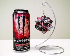Monster Energy Drink Origami - Rojo Tea (Rehab) - Upcycled Recycled Repurposed - Ornament, Gift, Present, Decoration, Collectable, Unique