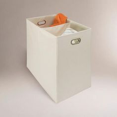 One of my favorite discoveries at WorldMarket.com: Canvas 2-Compartment Laundry Hamper