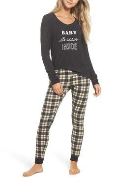 Such cute pajamas for her! Satin Pyjama Set, Pajama Set, Womens Fashion Online, Latest Fashion For Women, Pajamas For Teens, Cozy Pajamas, Pjs, Tartan Pants
