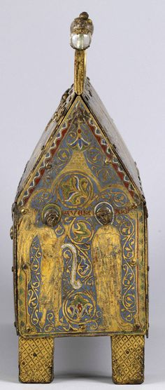 Reliquary Chasse with Scenes from the Life of Christ. French (Limoges). ca. 1230–50. Copper gilt over wood, enamel (champlevé) Inscribed: broad side, front: above figure of Christ: IHS (Jesus);back:MA/TEUS SI/MON MA/RCIAL/BARN/ABA PHI/LIP BA/RTOLOMS (Matthew,Simon, Martial,Barnabas,Philip,Bartholomew); MATI/AS SIOAN/NES SPA/UL'/SPE/TRU SAN/DREAS IA/COB'; Matthias,St. John,St. Paul, St. Peter, St.Andrew,James; narrow side (Annunciation scene): AVE M/ARIA (Hail Mary).Walters Art Museum. ToH…