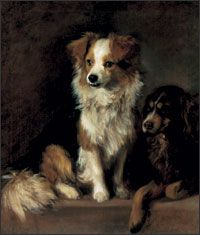 """Tristam and Fox by Gainsborough. These were Gainsborough's dogs, Fox (center) and Tristam (right) were honored members of the family. Whenever Gainsborough and his wife fought, he would apologize in a letter signed, """"Fox"""" and Fox himself would deliver the letter into Mrs Gainsborough's hands. How adorable is that!"""
