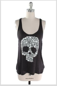 Floral Skull Tank Top-love may wear this to date night sat.