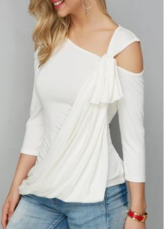 Asymmetric Hem White Cold Shoulder T Shirt on sale only US$28.27 now, buy cheap Asymmetric Hem White Cold Shoulder T Shirt at liligal.com