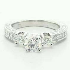 Diamond Engagement Ring With Prong Set Round Cut Side Diamonds