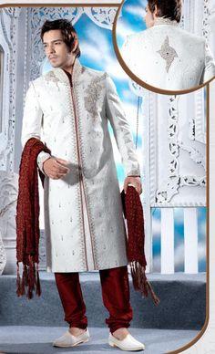 Off White Banarasi Sherwani for Men